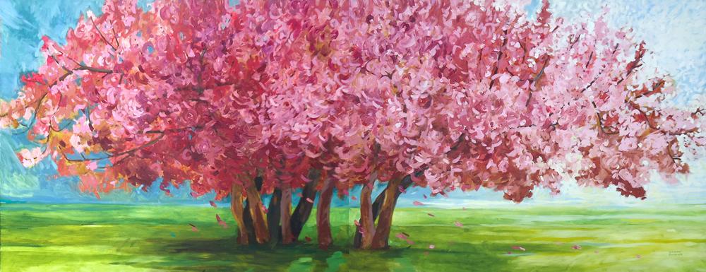 Geruch vor dem Frühlingsgewitter, 100 x 260 cm, Öl mit Wachs