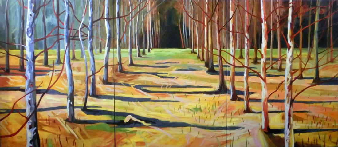 Tanz Richtung Sonne, 300 x 130 cm, Öl mit Wachs, 2015