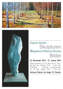 Plakat, Ausstellung D. Kerber und M. Willems-Pisarek, Fiskina, Fischen