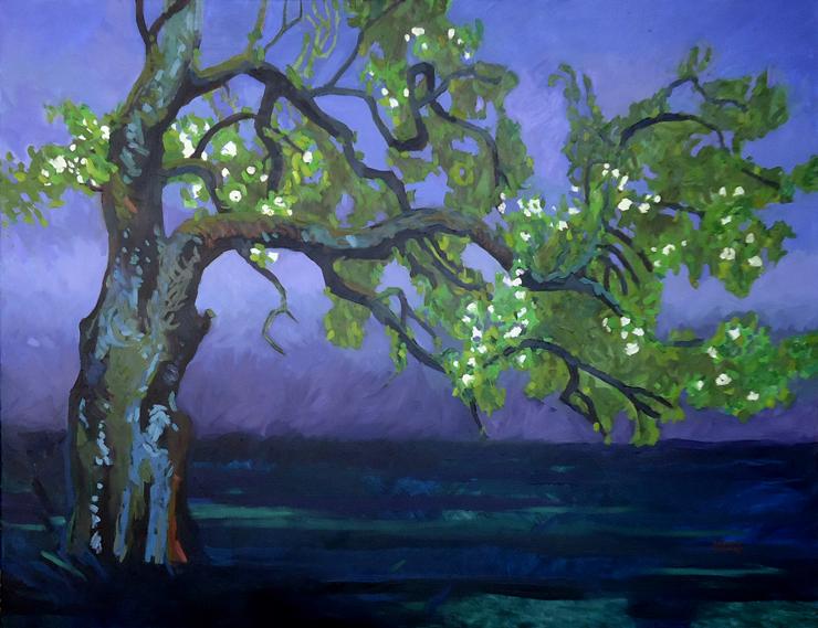 Immer noch Bluete, 100 x 130 cm, Öl mit Wachs